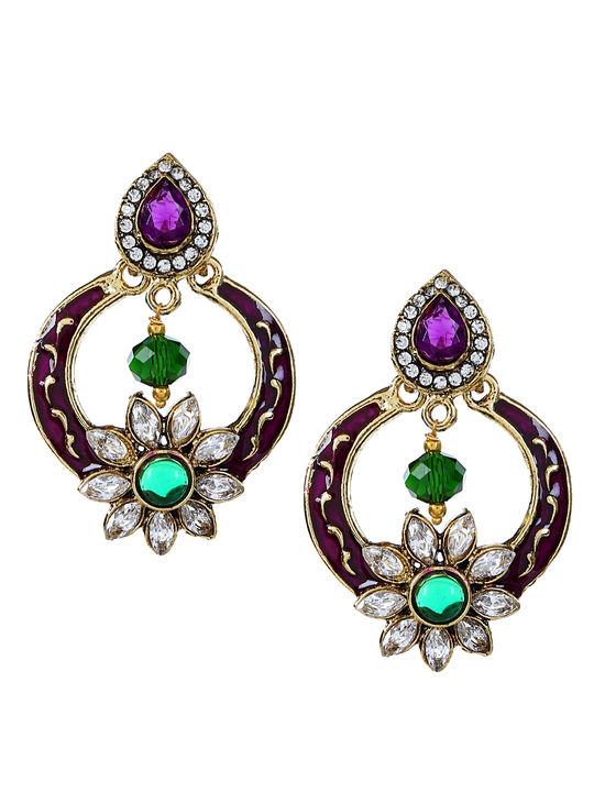 Aujjessa  Drop Earring with Marron & Green Stone