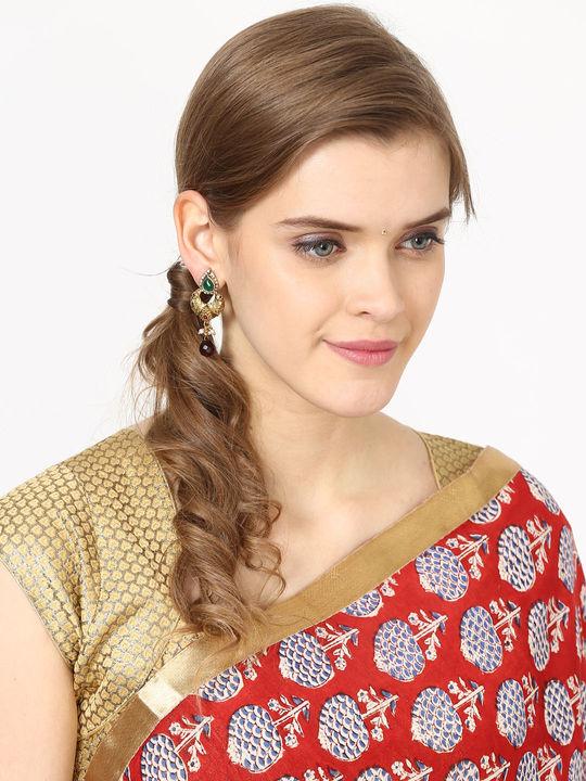Aujjessa Gold Drop Earring with Green Stone