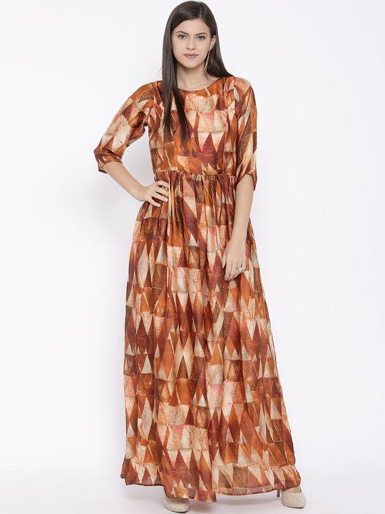 Aujjessa Rust Printed Maxi Dress