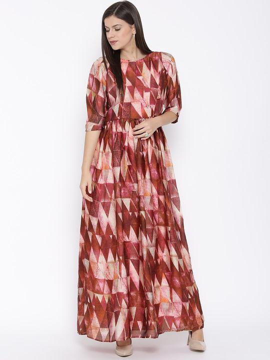 Aujjessa Peach Printed Maxi Dress