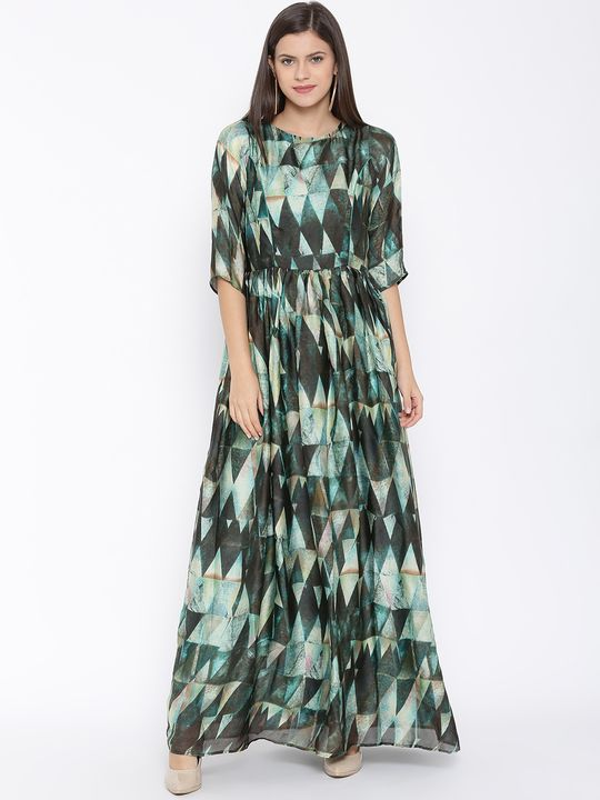Aujjessa Peacock Green Printed Maxi Dress