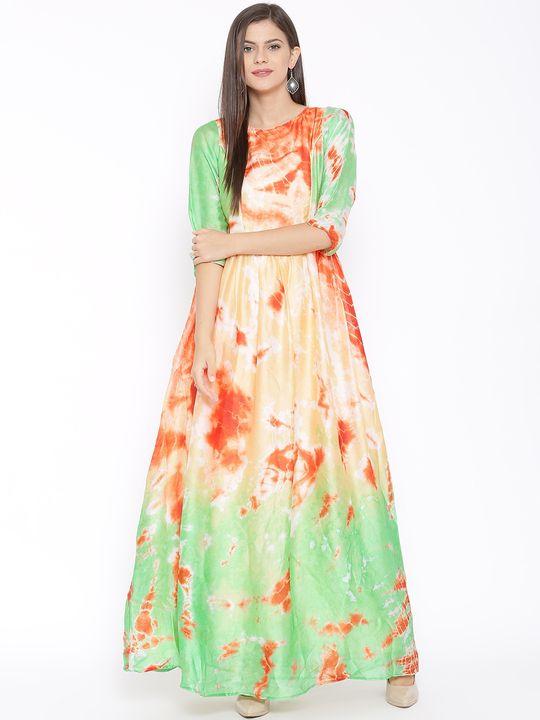 Aujjessa Faun Orange Printed Maxi Dress