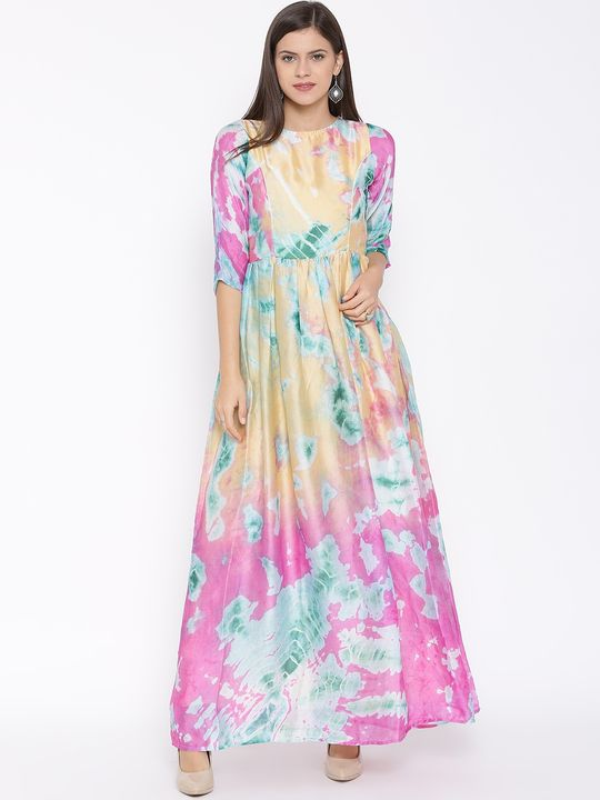 Aujjessa Faun Pink Printed Maxi Dress