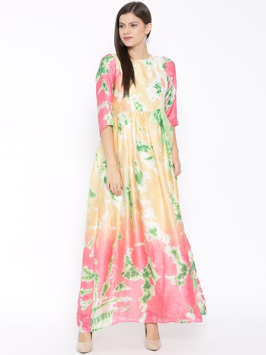 Aujjessa Faun Green Printed Maxi Dress