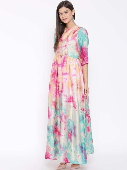 Aujjessa Faun Turtuoise Printed Maxi Dress