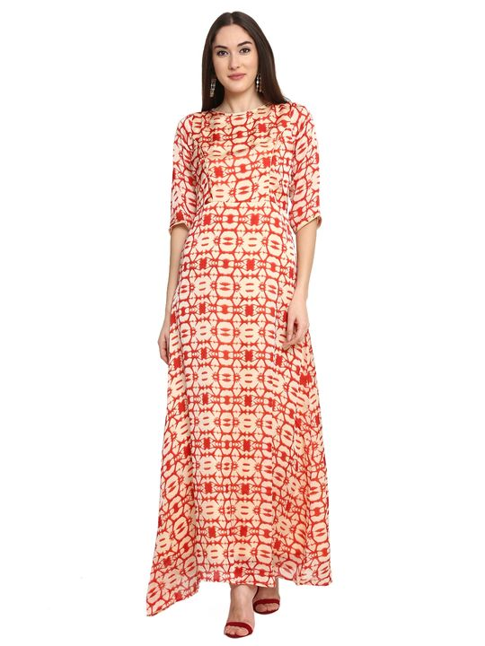 Aujjessa Faun Red Printed Maxi Dress