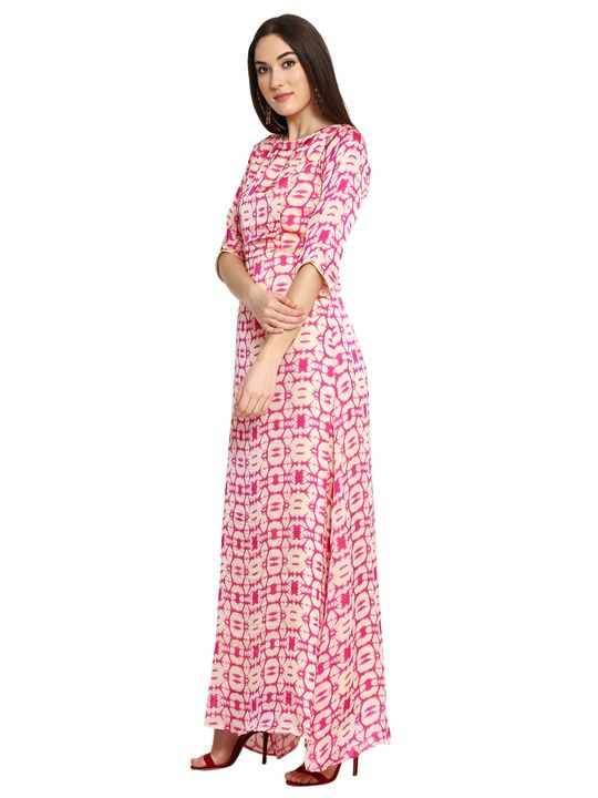 Aujjessa Faun Fuschia Printed Maxi Dress
