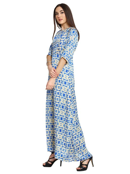 Aujjessa Faun Blue Printed Maxi Dress