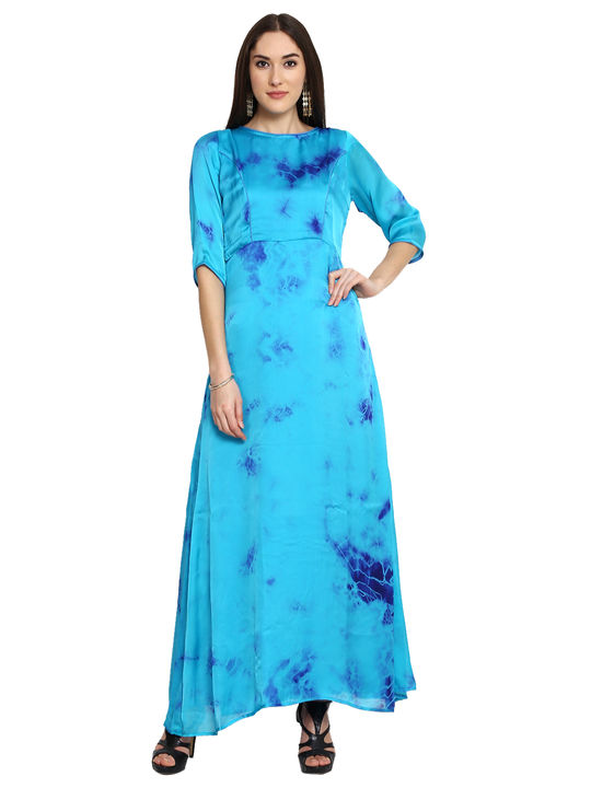Aujjessa Turquoise Printed Maxi Dress