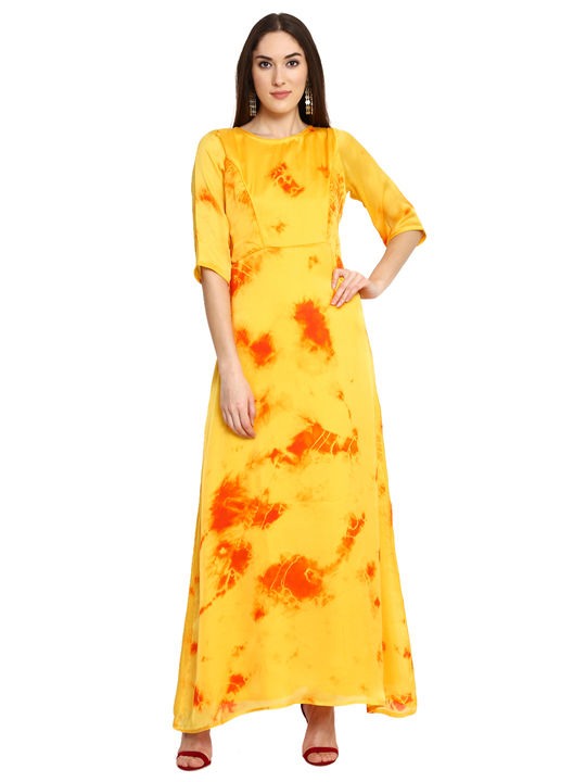 Aujjessa Yellow Printed Maxi Dress
