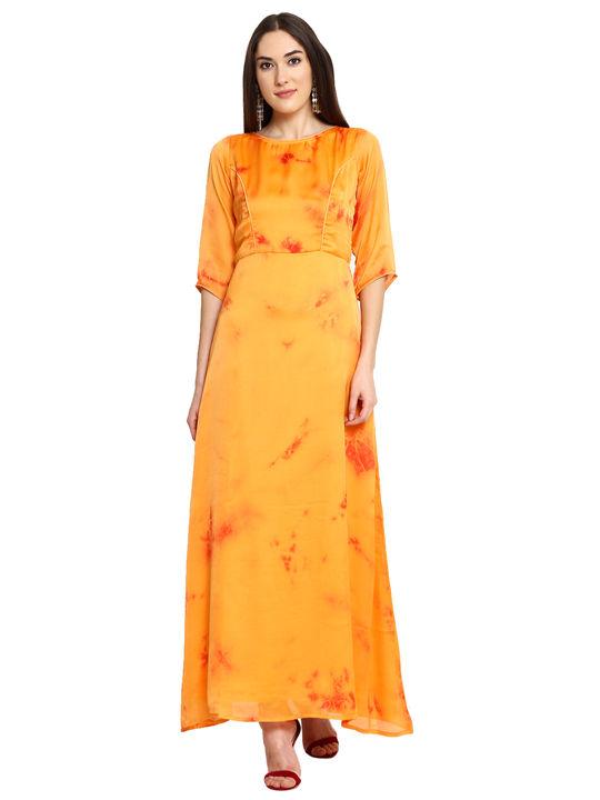 Aujjessa Orange Printed Maxi Dress