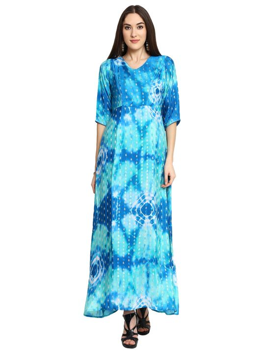 Aujjessa Blue Printed Maxi Dress