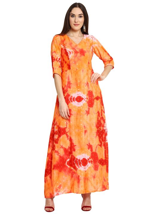 Aujjessa Orange Red Printed Maxi Dress