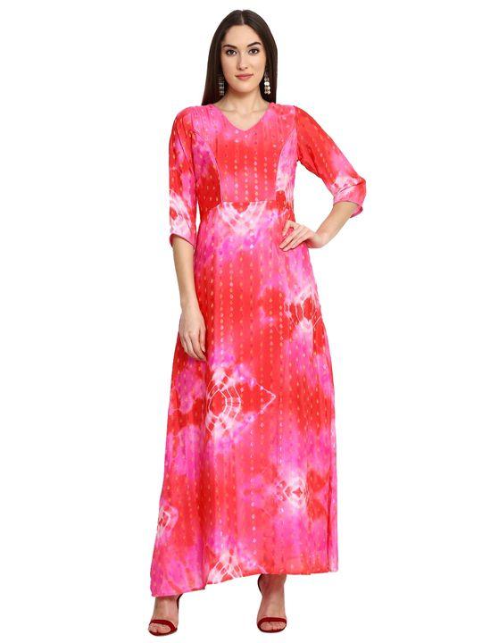 Aujjessa Fuschia Red Printed Maxi Dress