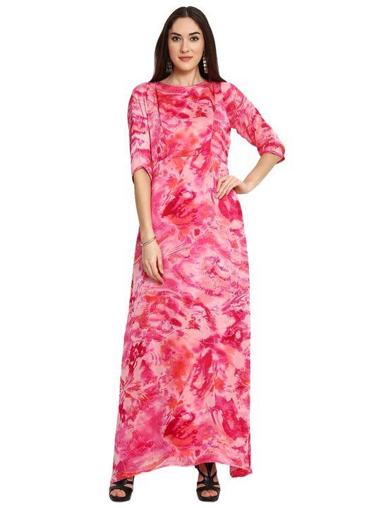 Aujjessa Pink Printed Maxi Dress