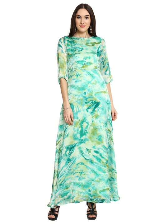 Aujjessa Green Printed Maxi Dress