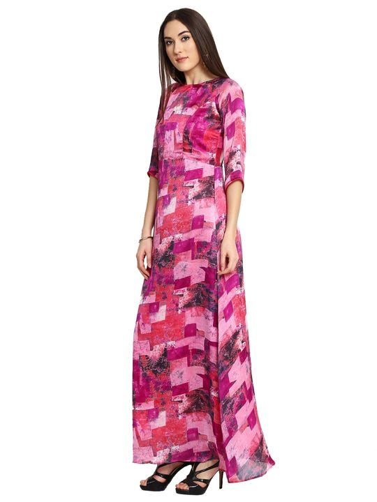 Aujjessa Fuschia Purple Printed Maxi Dress
