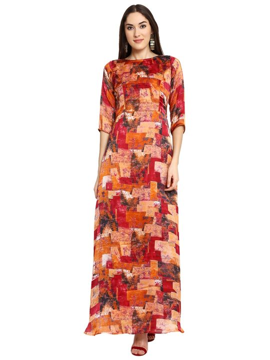 Aujjessa Mustard Red Printed Maxi Dress