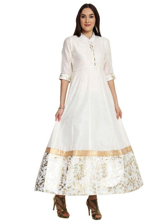 Aujjessa Cream Flared Foil Print Gown