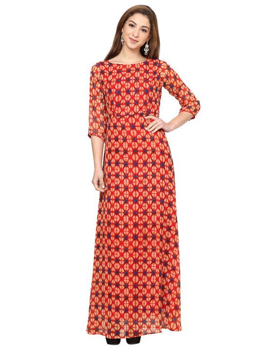 Aujjessa Coral Multi Printed Maxi Dress