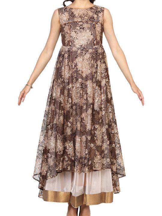 Aujjessa Brown Tiered Asymmetrical Gown