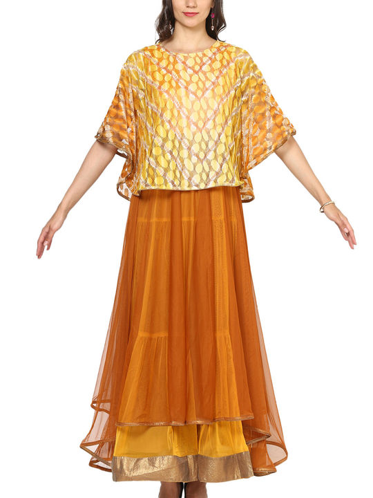 Aujjessa Rust Yellow Tiered Cape Gown