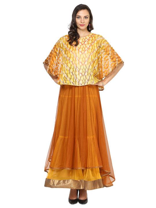 Aujjessa Rust Yellow Tiered Cape Gown