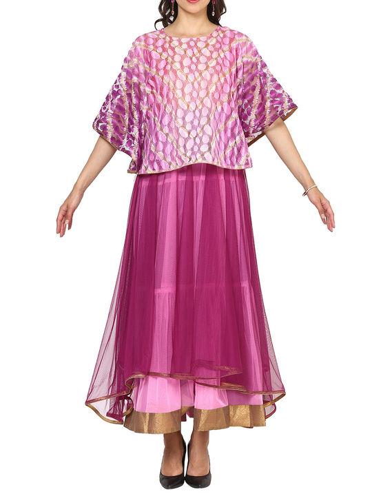 Aujjessa Purple Pink Tiered Cape Gown