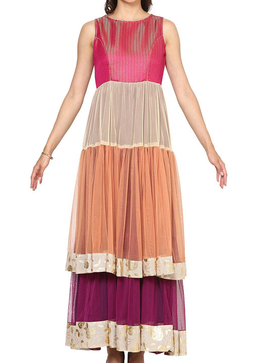 Aujjessa Fuschia Multi Double Tiered Flared Gown