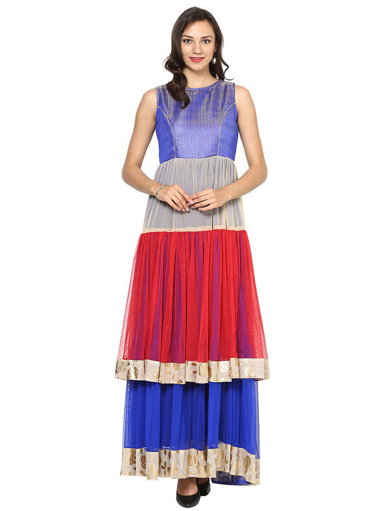 Aujjessa Blue Multi Double Tiered Flared Gown