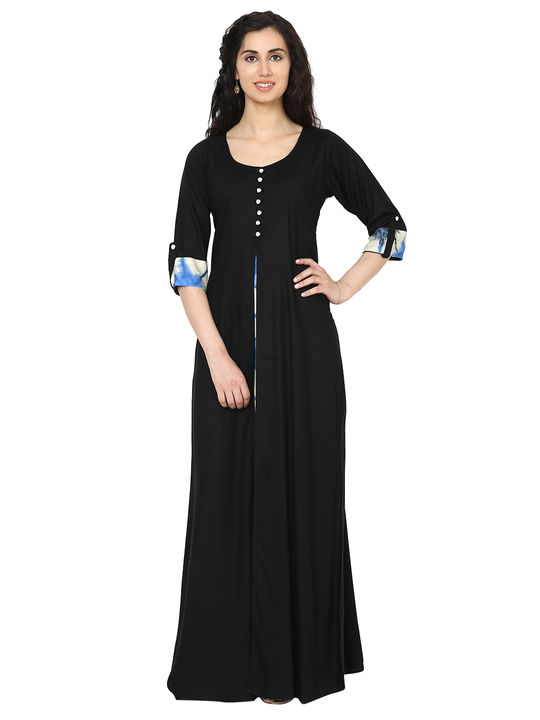 Aujjessa Black Multi Jacket Rayon Maxi Dress