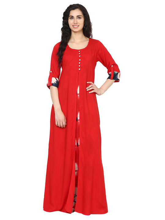 Aujjessa Red Multi Jacket Rayon Maxi Dress