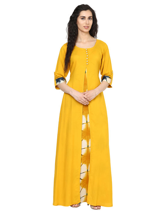 Aujjessa Mustard Multi Jacket Rayon Maxi Dress