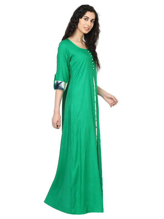 Aujjessa Green Multi Jacket Rayon Maxi Dress