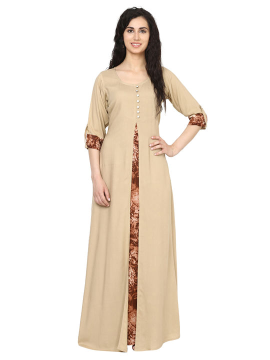 Aujjessa Beige Brown Jacket Rayon Maxi Dress