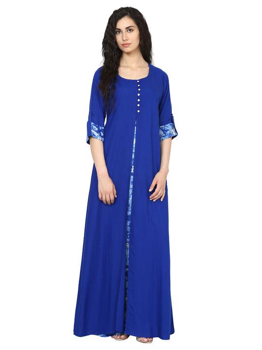 Aujjessa Royal Blue Jacket Rayon Maxi Dress