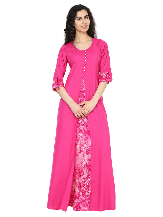 Aujjessa Pink Jacket Rayon Maxi Dress