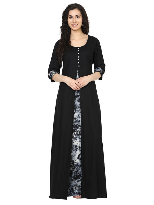 Aujjessa Black Jacket Rayon Maxi Dress