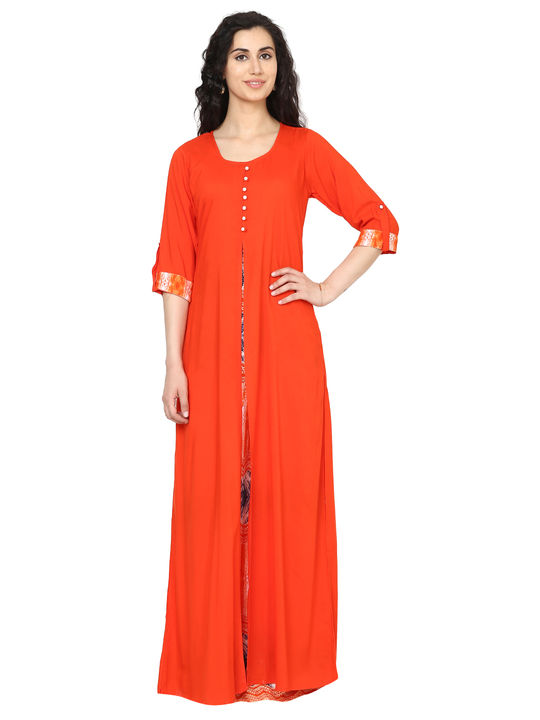 Aujjessa Orange Multi Jacket Rayon Maxi Dress