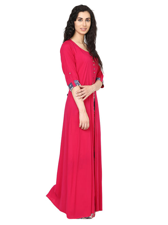 Aujjessa Fuschia Multi Jacket Rayon Maxi Dress