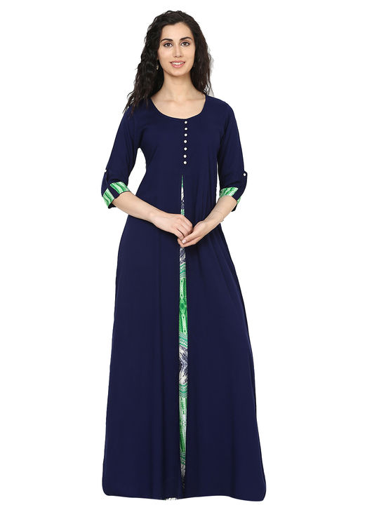 Aujjessa Navy Blue Multi Jacket Rayon Maxi Dress