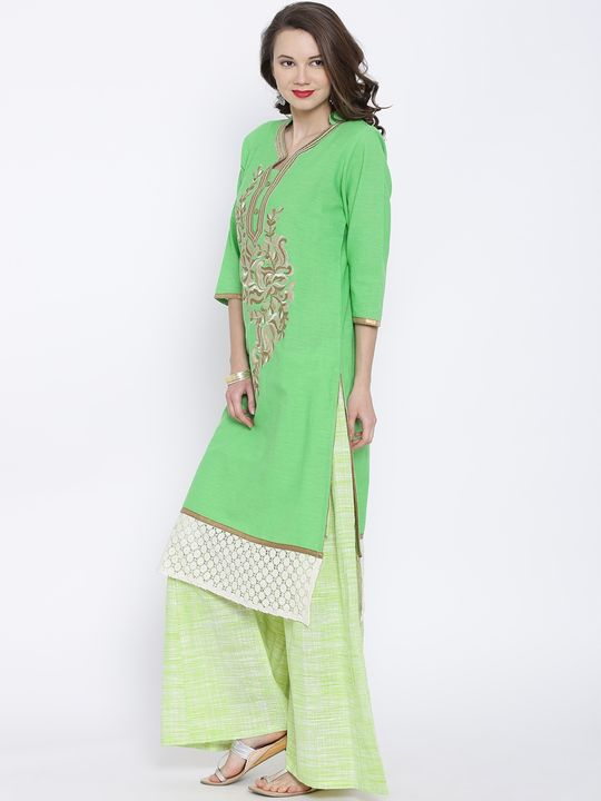 Aujjessa Green Khadi Plazzao Suit Set
