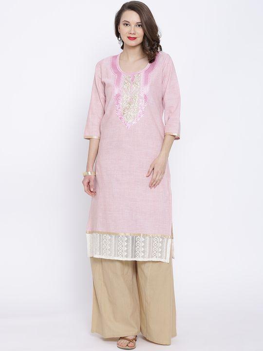 Aujjessa Pink Khadi Plazzao Suit Set