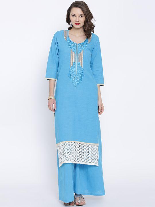 Aujjessa Turquoise Khadi Plazzao Suit Set