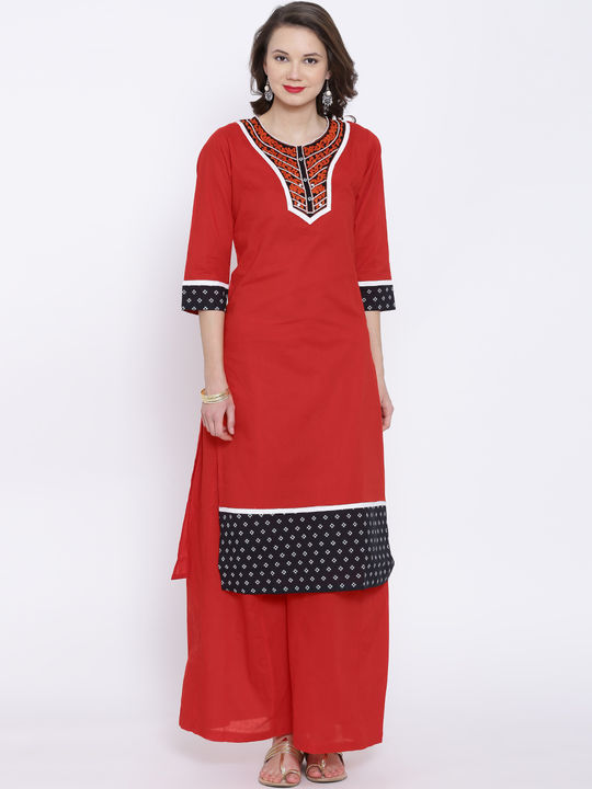 Aujjessa Red Multi Cotton Plazzao Suit Set
