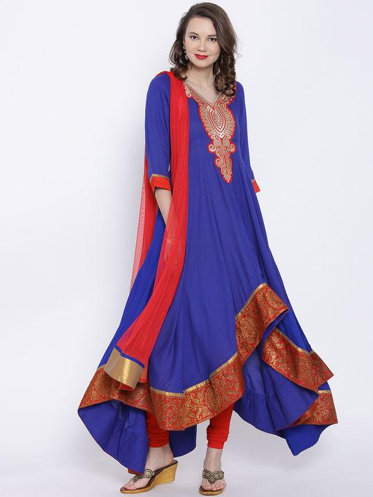 Aujjessa Royal Blue Asymmertical Anarkali Suit Set