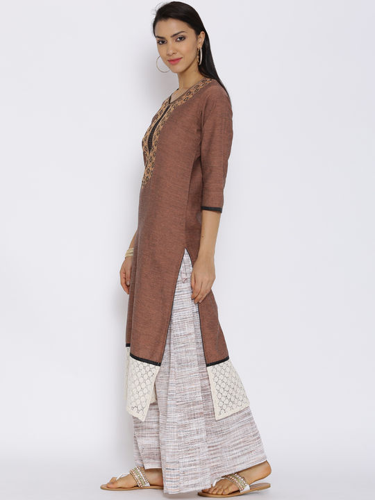 Aujjessa Brown Khadi Plazzao Suit Set