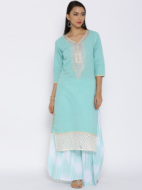 Aujjessa Sea Green Khadi Plazzao Suit Set