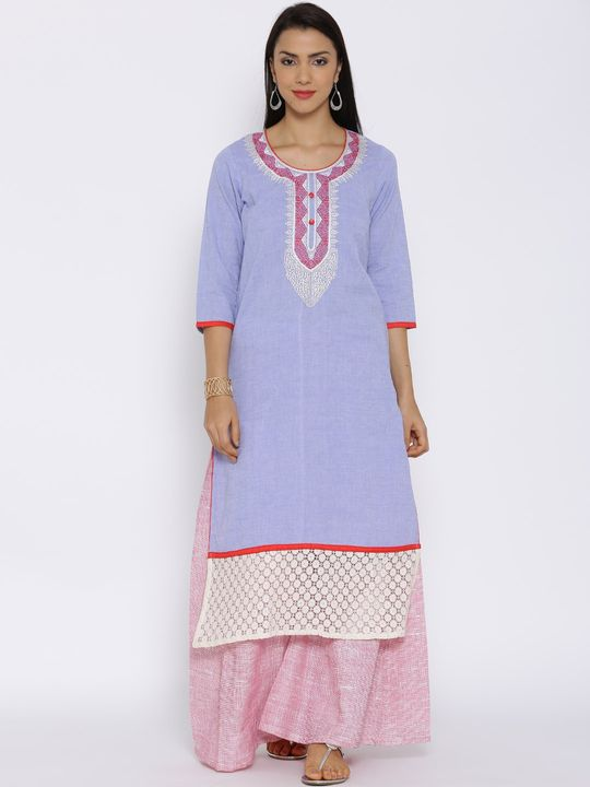 Aujjessa Blue Khadi Plazzao Suit Set