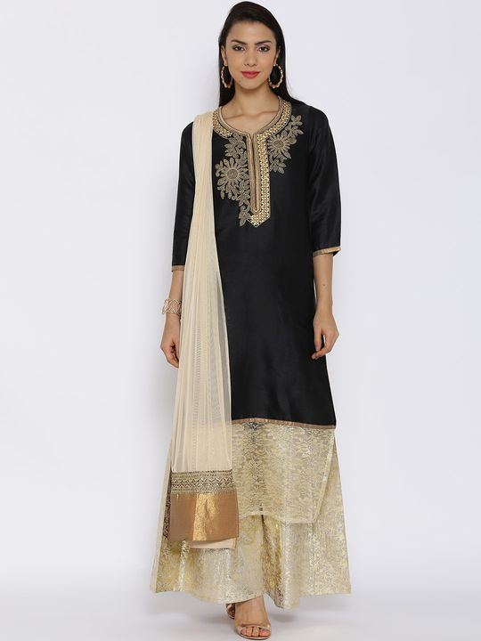Aujjessa Black Cotton Plazzao Suit Set